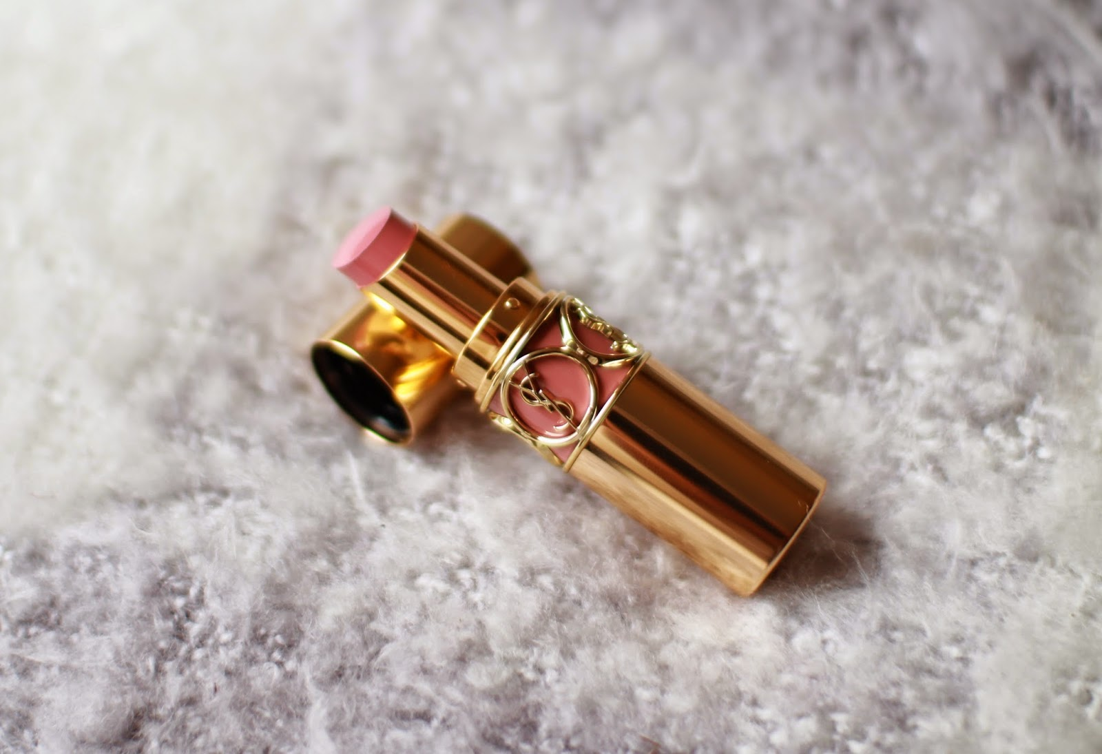 YSL Rouge Volupte Shine Lipstick in #9 Is One With My Lips