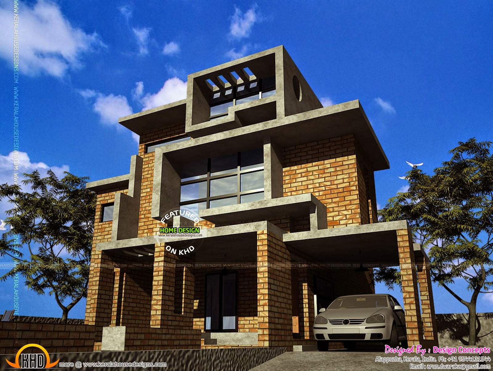 Brick house design in kerala kerala home design and for Brick house designs