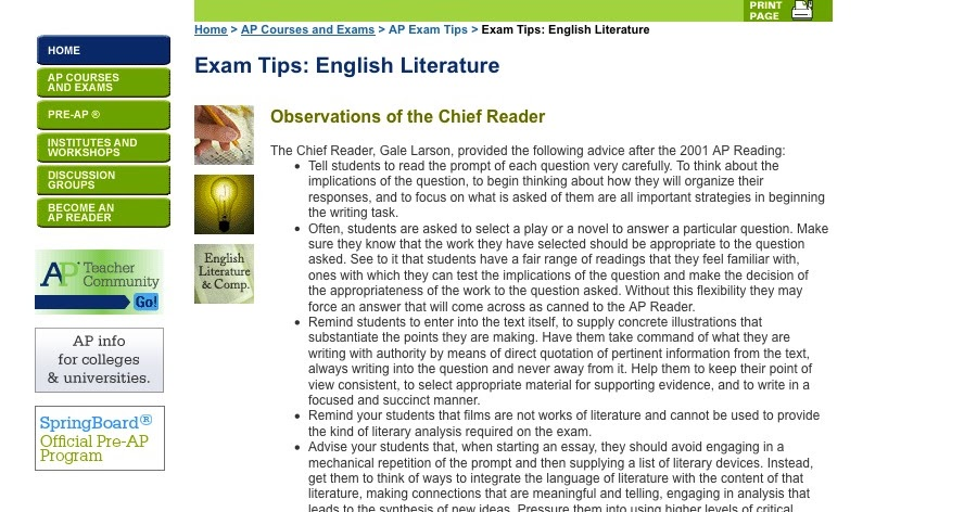 ap central literature essays The ap literature exam is a three-hour exam that contains two sections the majority of your grade on the ap english lit exam comes from essays.