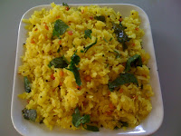 Aval Upma with puffed rice, onion and chilies