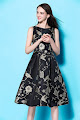 New 2017 Sleeveless Bird Floral Gold Fine Embroidery Flare Dress