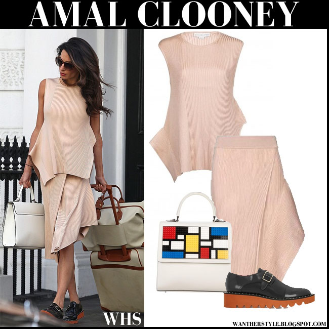 Amal Clooney in powder pink matching asymmetric top and skirt stella mccartney with black shoes what she wore style