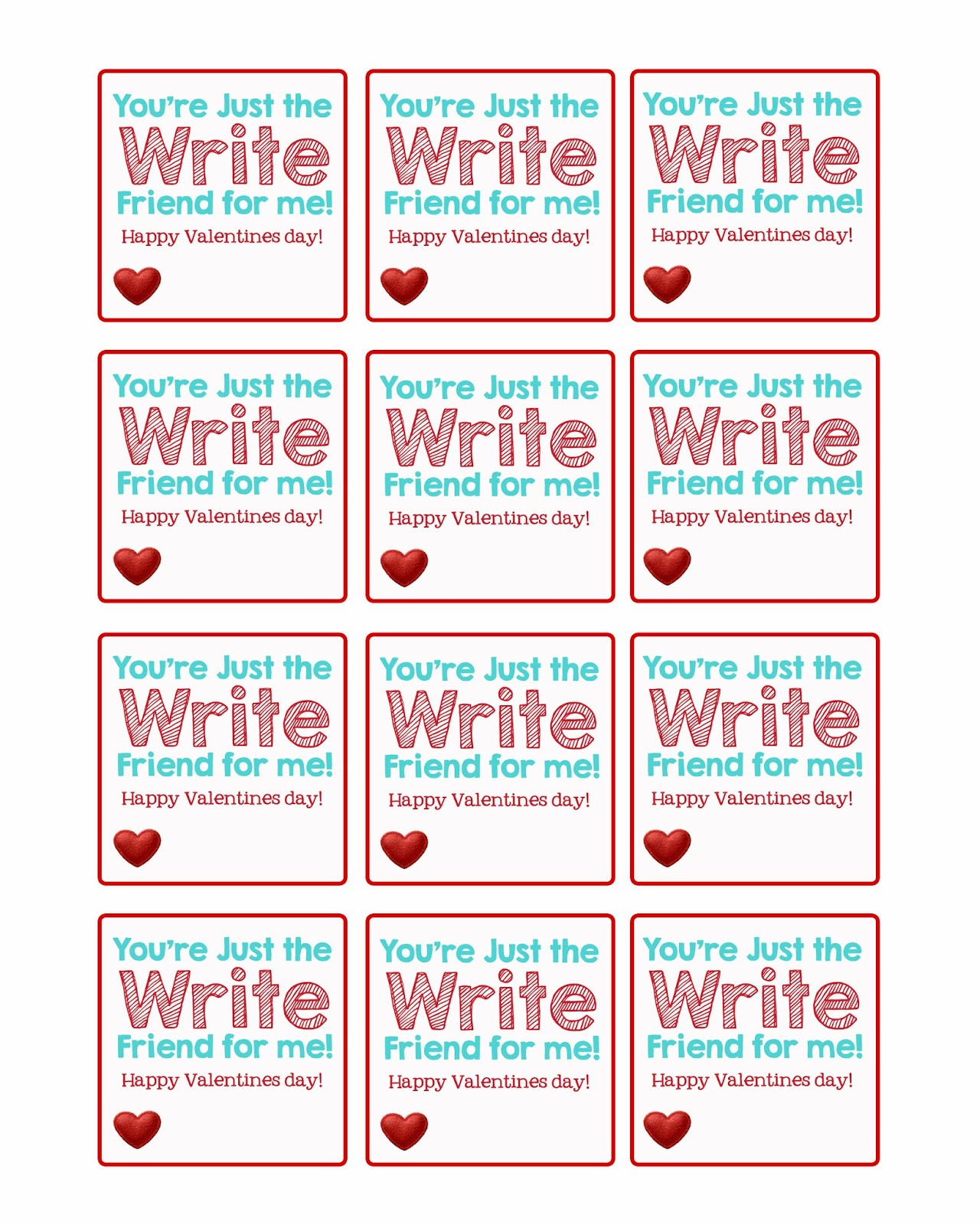 Valentine Pencil Toppers   Free Printable