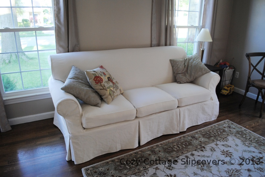 Cozy Cottage Slipcovers Natural Brushed Canvas Sofa Slipcover