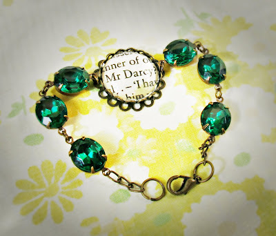image vintage glam it up Mr Darcy bracelet upcycled classics jane austen pride and prejudice two cheeky monkeys jewellery jewelry