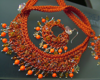 Swarovski goes Neon Orange in wire crochet jewelry