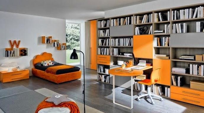 Dormitorio juvenil moderno y funcional decorado en naranja y gris Un