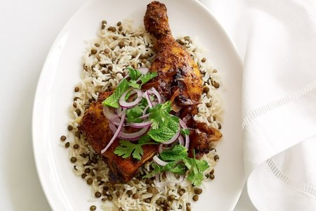 lemon juice and oil in a large bowl and gently toss to combine Persian chicken with lentil rice recipe