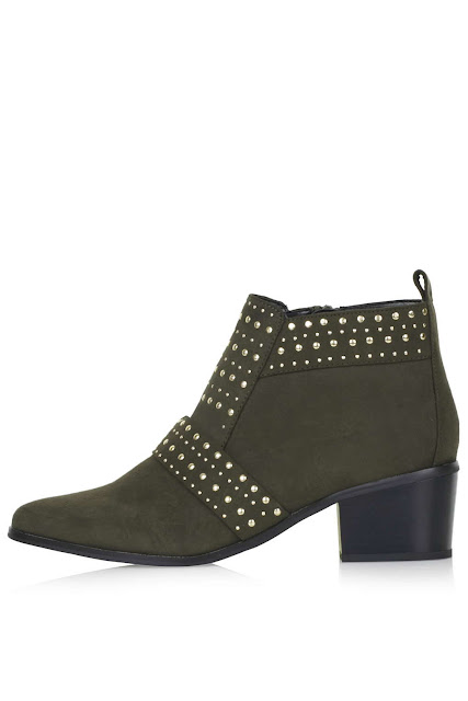 khaki stud ankle boot, green ankle boots,
