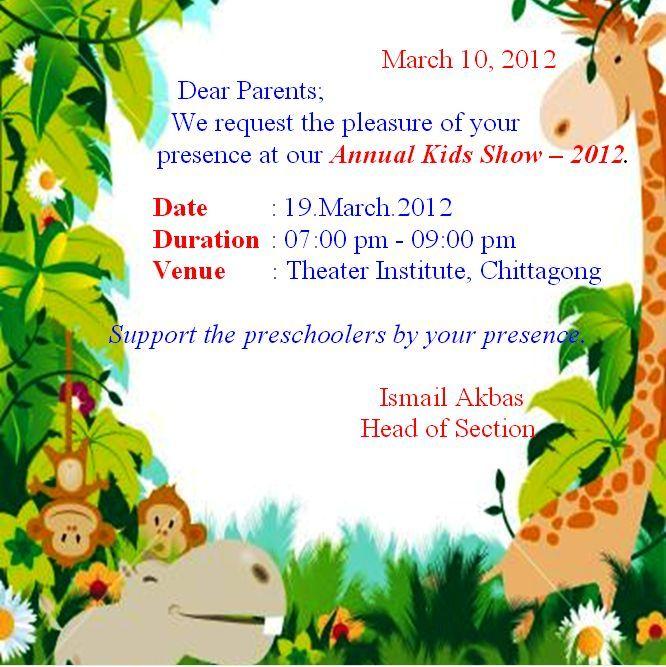 International Turkish Hope School Kids Show Invitation Card