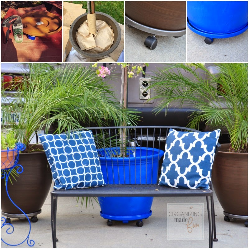 Spray painting plastic pots and rolling trays : OrganizingMadeFun.com