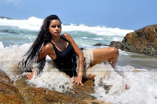 Purnima wet at beach