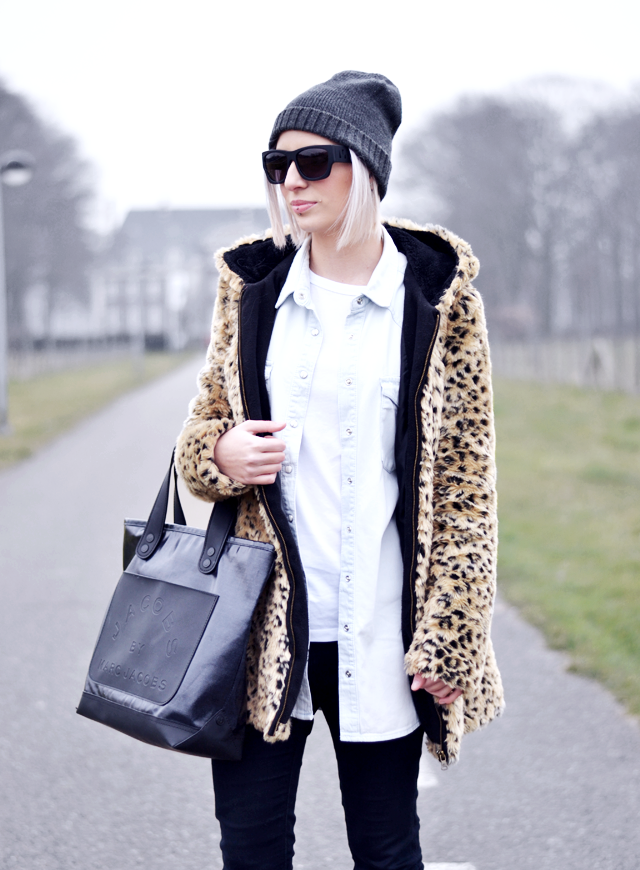 Leopard coat, zara, cheap monday hat, alexander wang x h&m, denim shirt, monki
