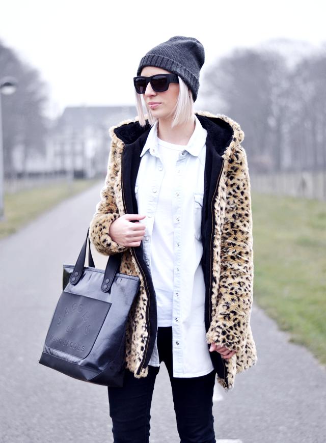 Leopard coat, zara, cheap monday hat, alexander wang x h&m, denim shirt, monki