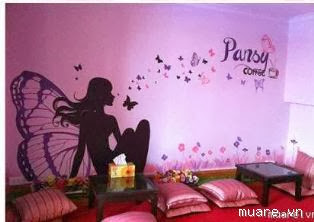 vẽ tranh tường quán cafe teen