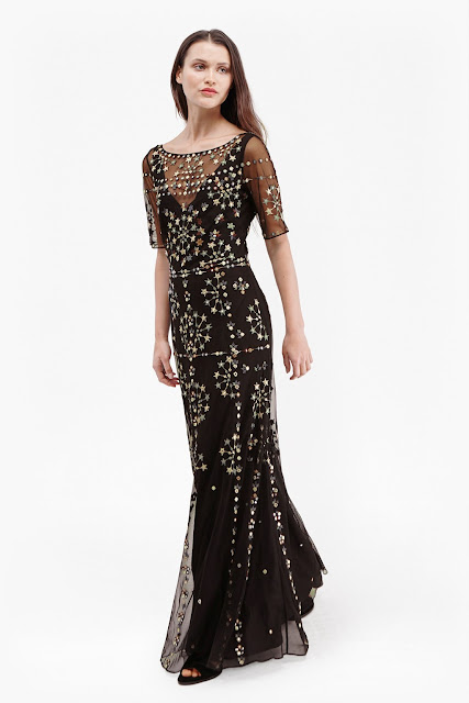 french connection evie dress, black gold sparkle dress,