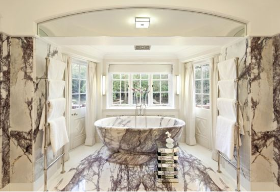 photo of italian marble bathroom of health hall mansion property in hampstead london