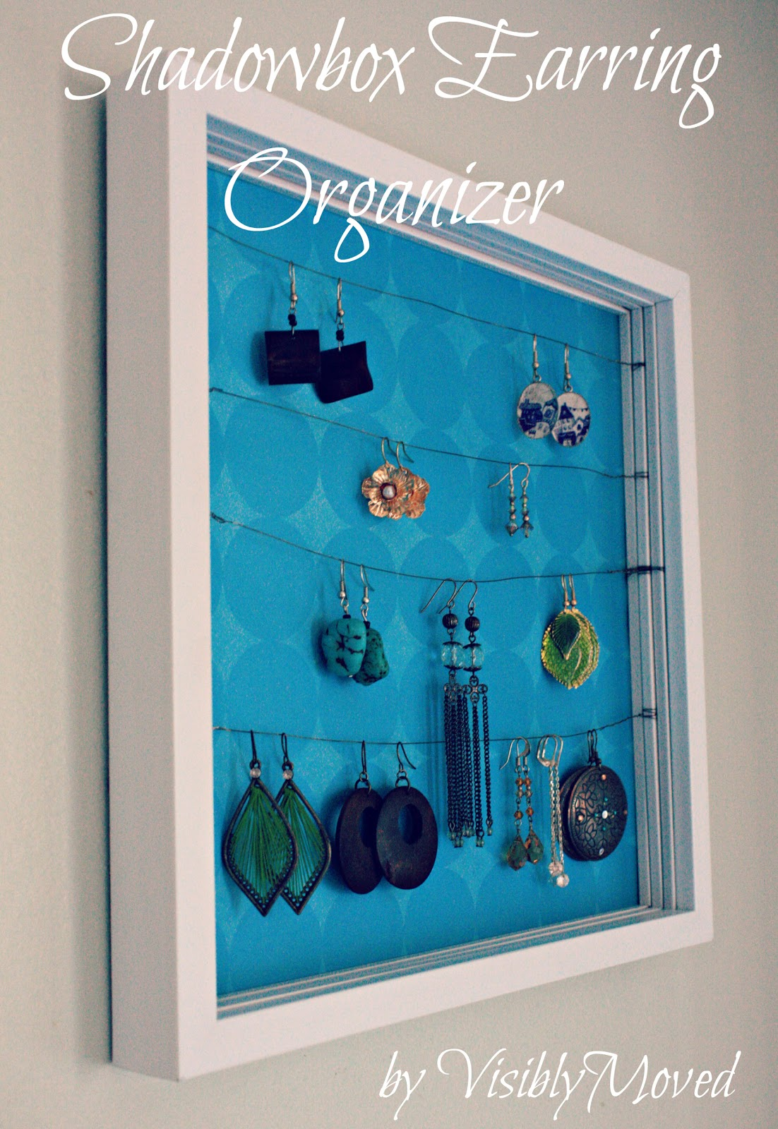 Visibly moved diy shadowbox earring organizer for Diy travel earring holder