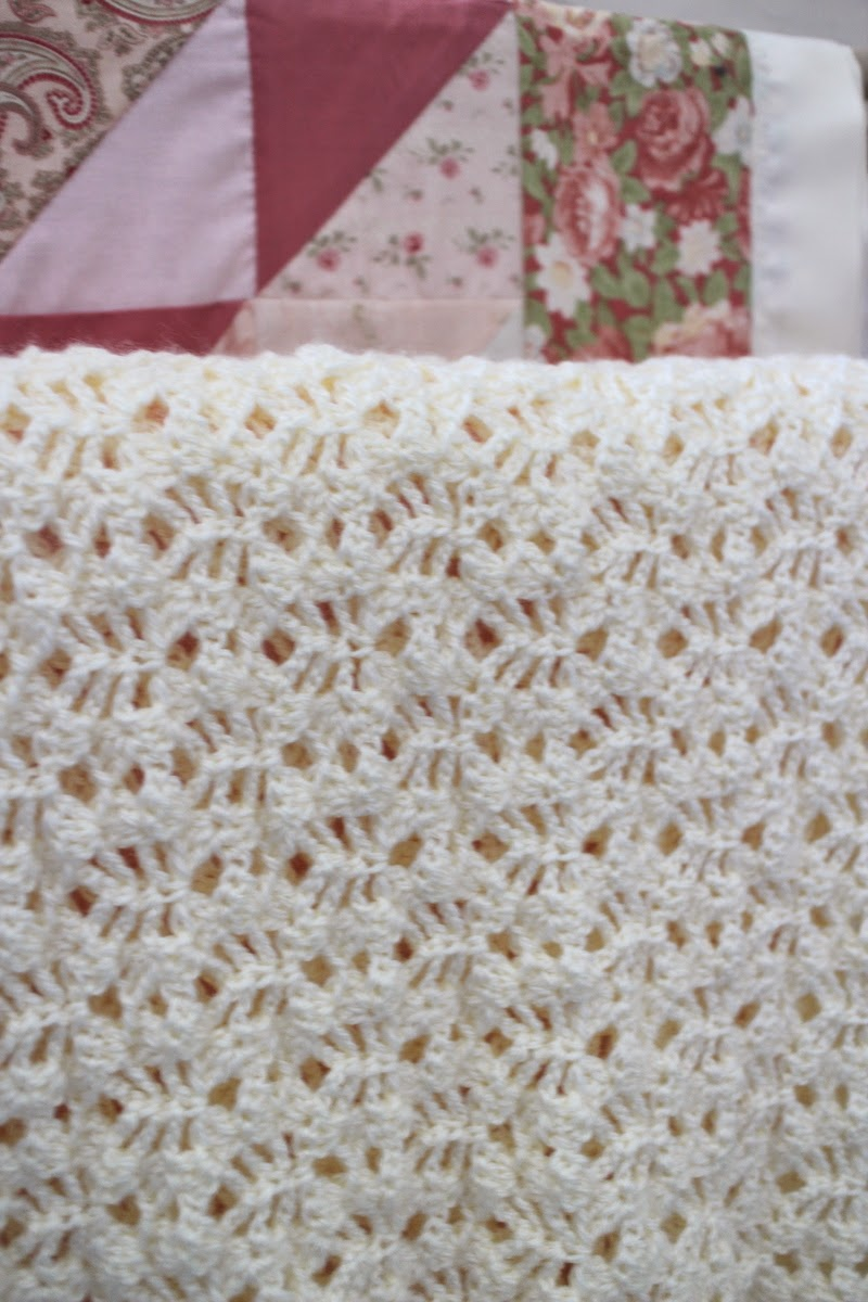 Free Crochet Pattern For Lacy Baby Blanket : Lilacs and Springtime: Lacy Crochet Baby Afghan