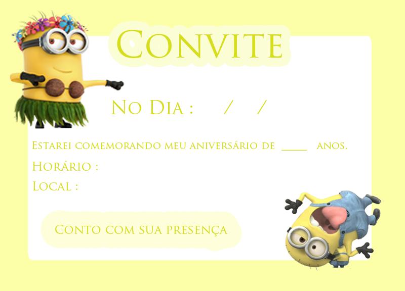Convite  para festa dos minions