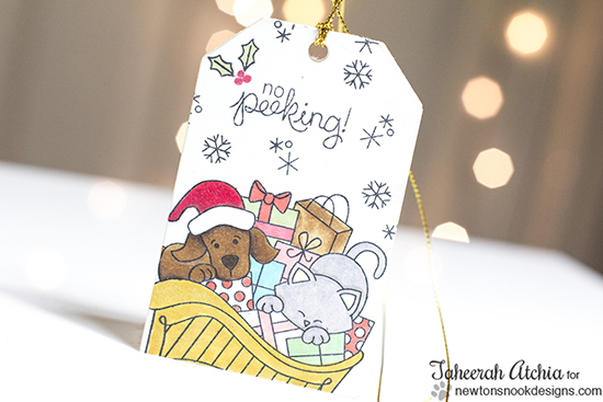 Cat and Dog in Sleigh Christmas Tag by Taheerah Atchia for Newton's Nook Designs - Christmas Delivery Stamp Set