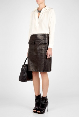 3.1 phillip lim black leather pencil skirt