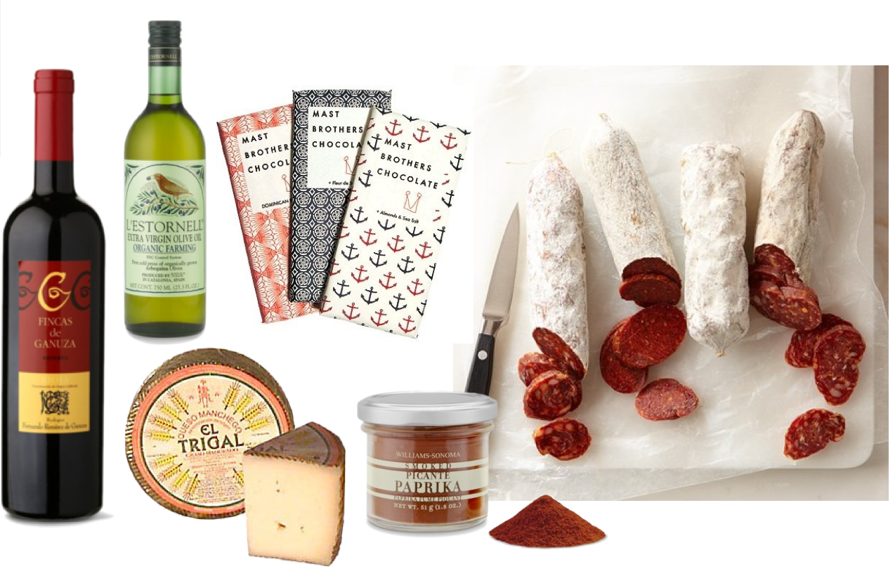 Spanish wine and cheese gift basket