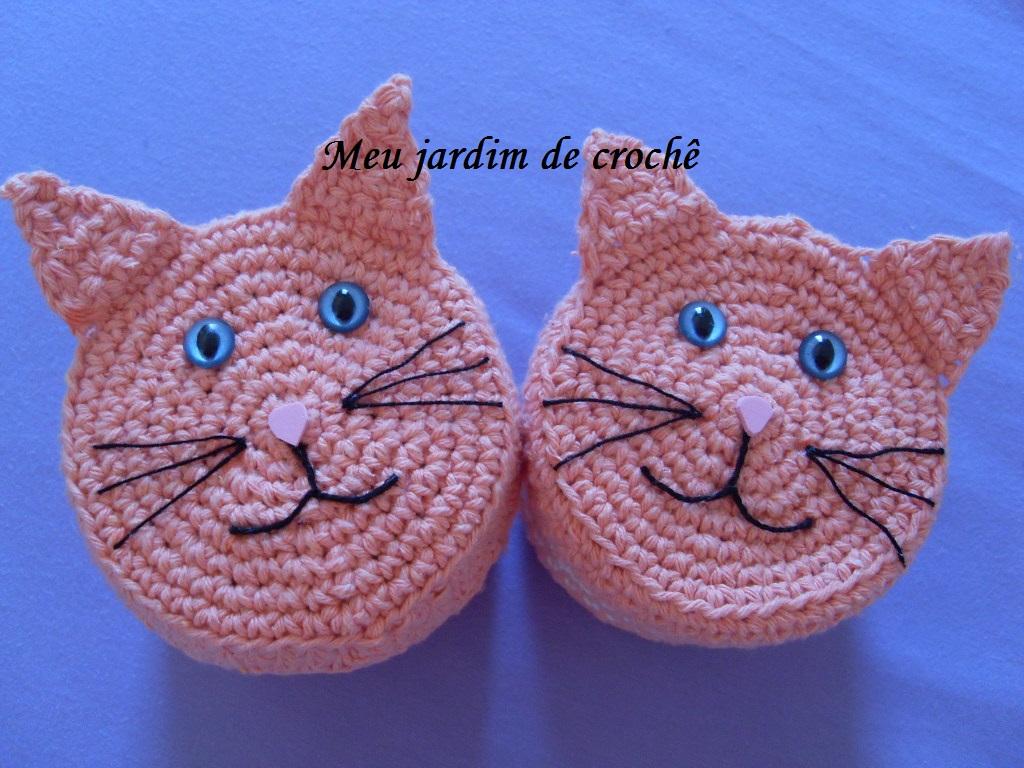 jardim de crochê: Potes porta cotonetes e algodão gatos em crochê #153CB6 1024x768 Banheiro Adequado Do Gato