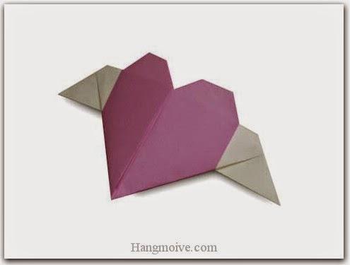 Cách gấp, xếp trái tim có cánh bằng giấy origami - Video hướng dẫn xếp hình trái tim quà tặng - How to fold a Heart with wings