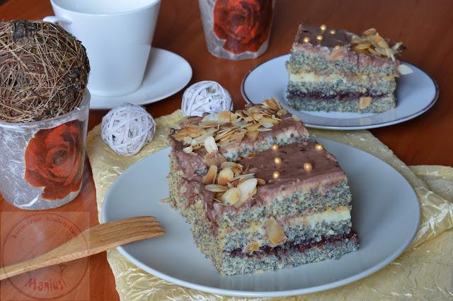Ciasto z makiem i kremem budyniowym