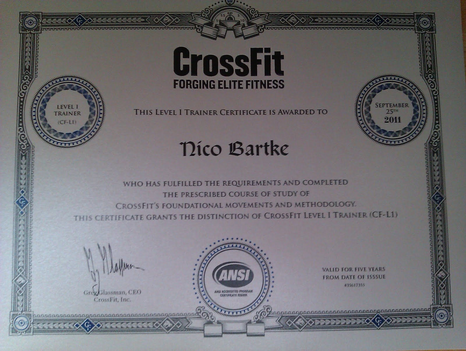 crossfit certificate level trainer ansi