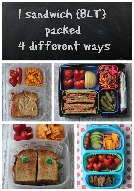BLT school lunch sandwiches. Packed four different ways - www.mamabelly.com