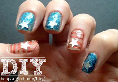 DIY Patriotic Fourth of July American Flag Manicure - Nail art video tutorial #nailart #manicure #nails