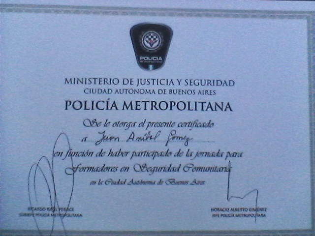 Diploma de la Policía Metropolitana