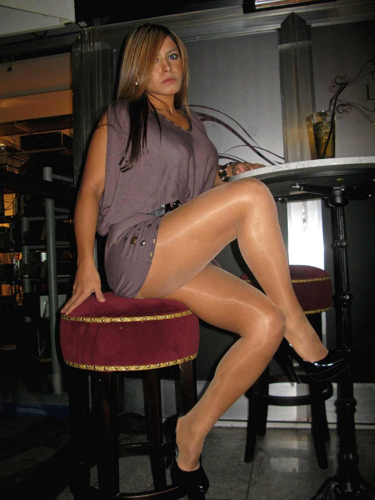 Shiny+Suntan++Pantyhose,+Black+Heels I tend to follow female bodybuilders the best I can and I have never heard ...