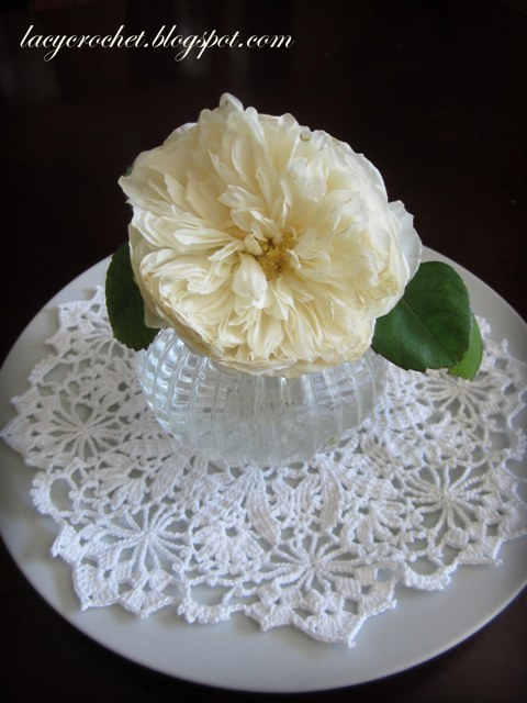 Lacy crochet dining table centerpiece