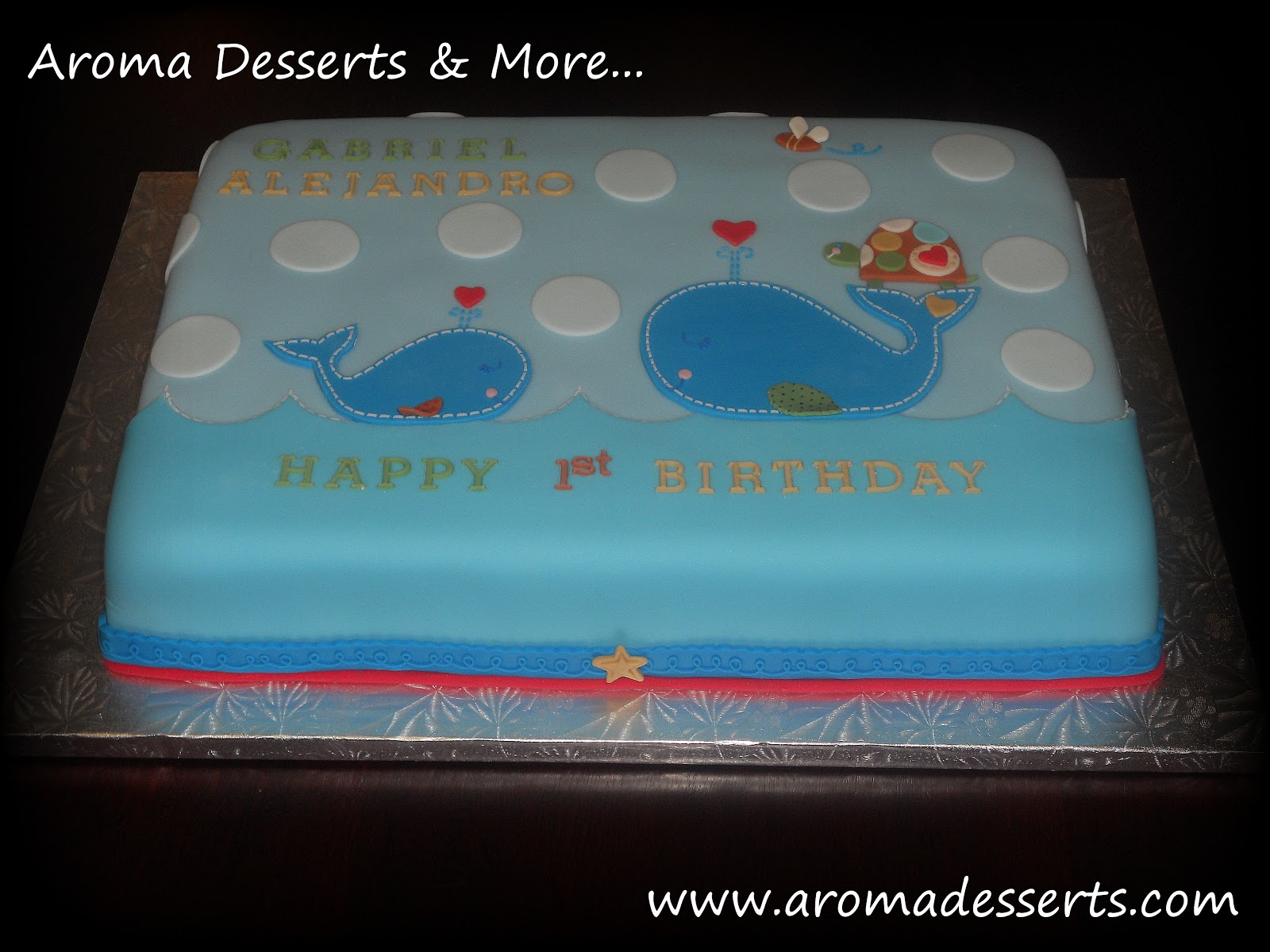 Aroma Desserts and More Ahoy 1st Birthday Cake Whales and Turtles