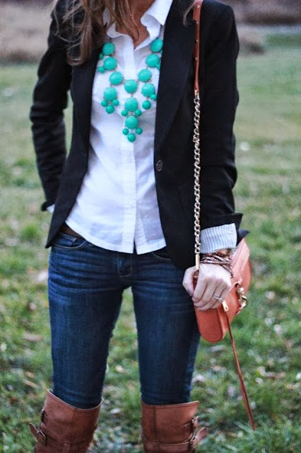 Black blazer, white shirt, ruby necklace, jeans and long boots for fall
