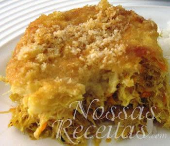 receita de bacalhau preparado com legumes e gratinado com queijo