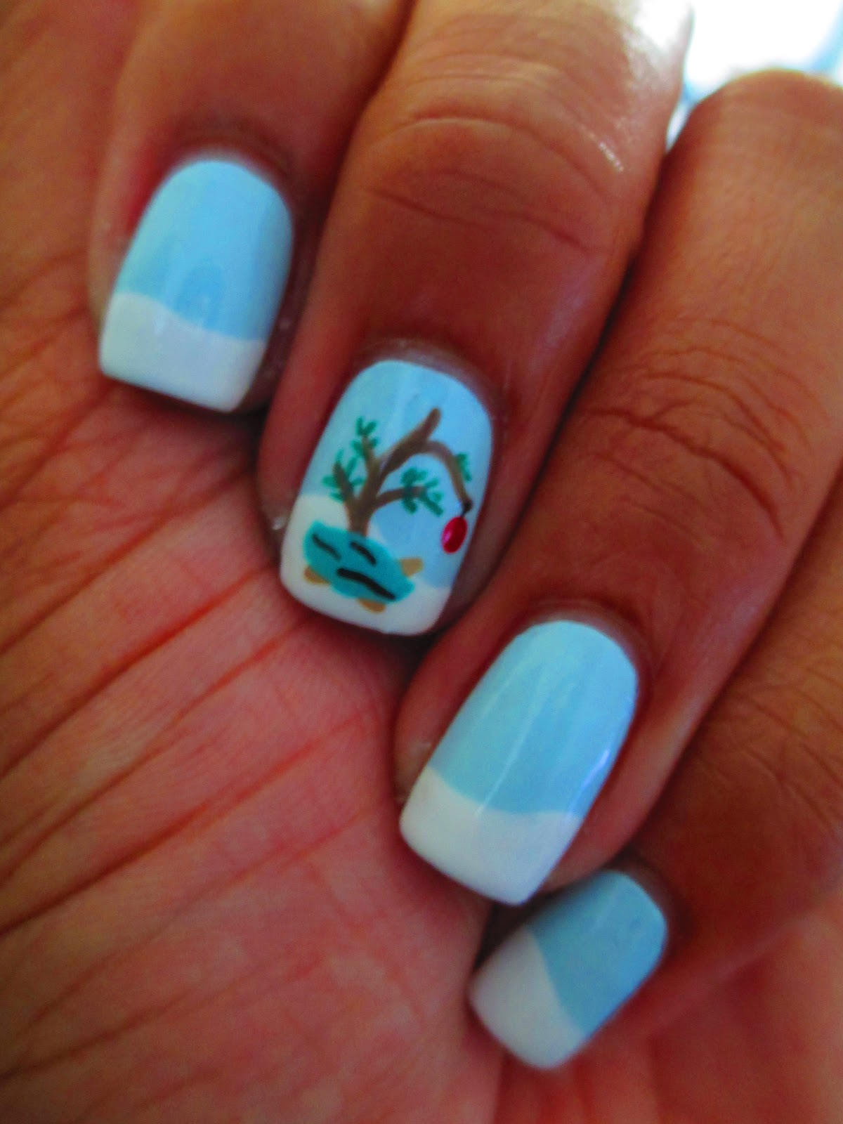 Fairly charming december 2012 christmas charlie brown tree peanuts blue snow nail art nail prinsesfo Gallery