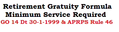 Retirement Gratuity Formula Minimum Service GO 14 Dated 30-1-1999 APRPS Rule 46