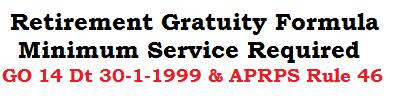 Retirement Gratuity Formula Minimum Service GO 14 Dated 30-1-1999 APRPS Rule 46