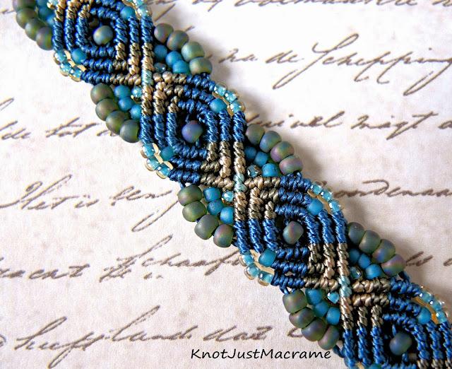 Peacock micro macrame bracelet by Sherri Stokey of Knot Just Macrame.