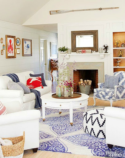 12 small coastal beach theme living room ideas with great for Red white and blue living room ideas