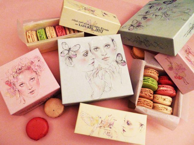 plusieurs boites macaron avec dessin