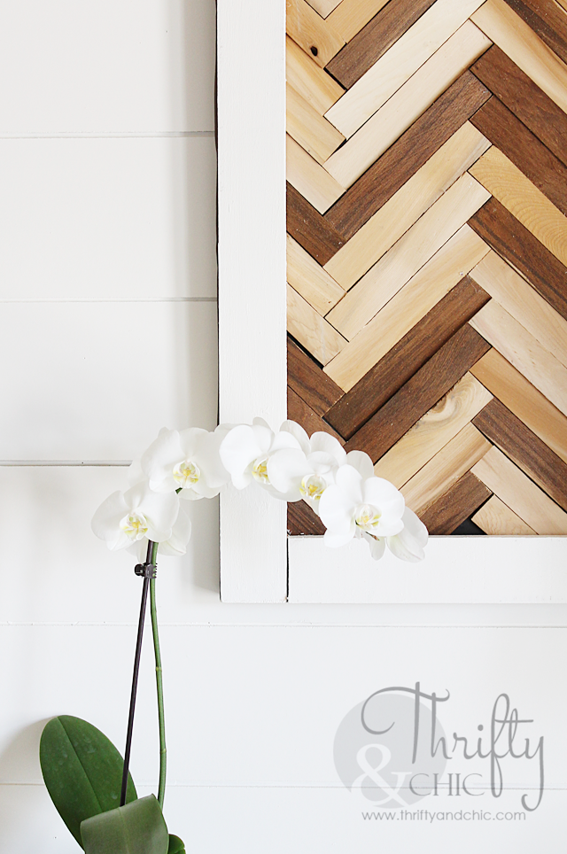 DIY Herringbone Pattern Wall Art using wood shims