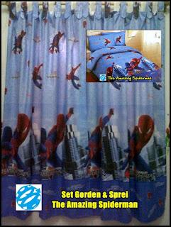 Gorden Anak Motif Spiderman, Gorden Karakter Kartun Anak, Gorden Motif Kartun Murah