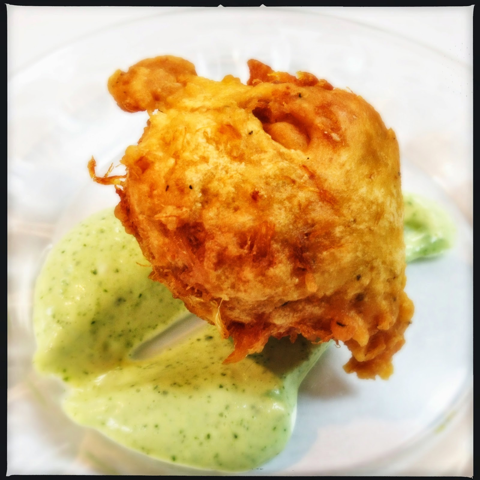 ... MY BARBARIC GULP!: Salt Cod Fritters with Spicy Cilantro Sauce