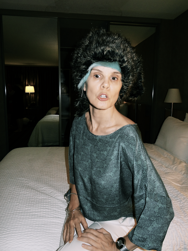 Sylvia, 40-plus style, wigged out and supermodel cool, Bag and a Beret