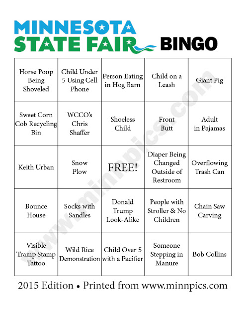 2015 Minnesota State Fair Bingo cards